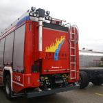 Rückseite des Einstzfahrzeugs der freiwilligen Feuerwehr Triberg