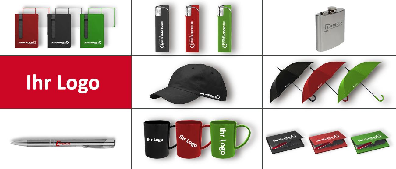 Werbeartikel: Notizbücher, Feuerzeuge, Flachmann, Kugelschreiber, Cap Mütze, Regenschirme, Tassen, Visitenkarten