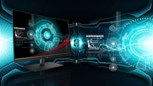 Bildschirm in einem leuchtenden futuristisch technischem Umfeld