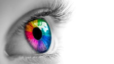 Grafik von diedruckfabrik.de. Auge mit einer vielfarbigen Iris