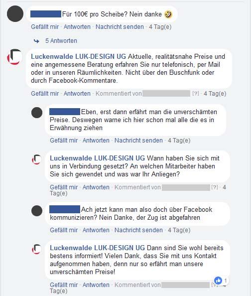 Trolling Verlauf auf Facebook