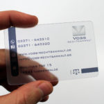 durchsichtige Visitenkarte Voss Rechtsanwalt